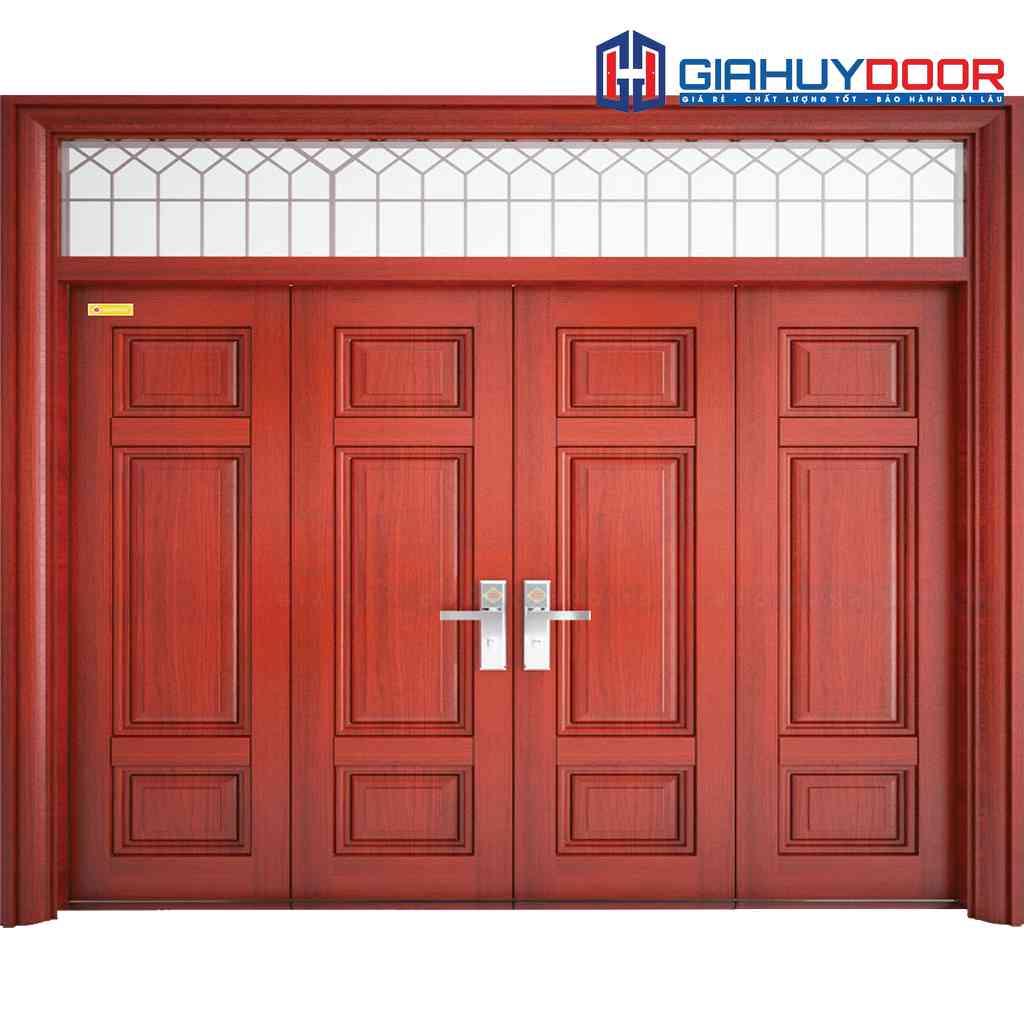 Cửa thép vân gỗ 4 cánh đều cho cửa nhà chính biệt thự
