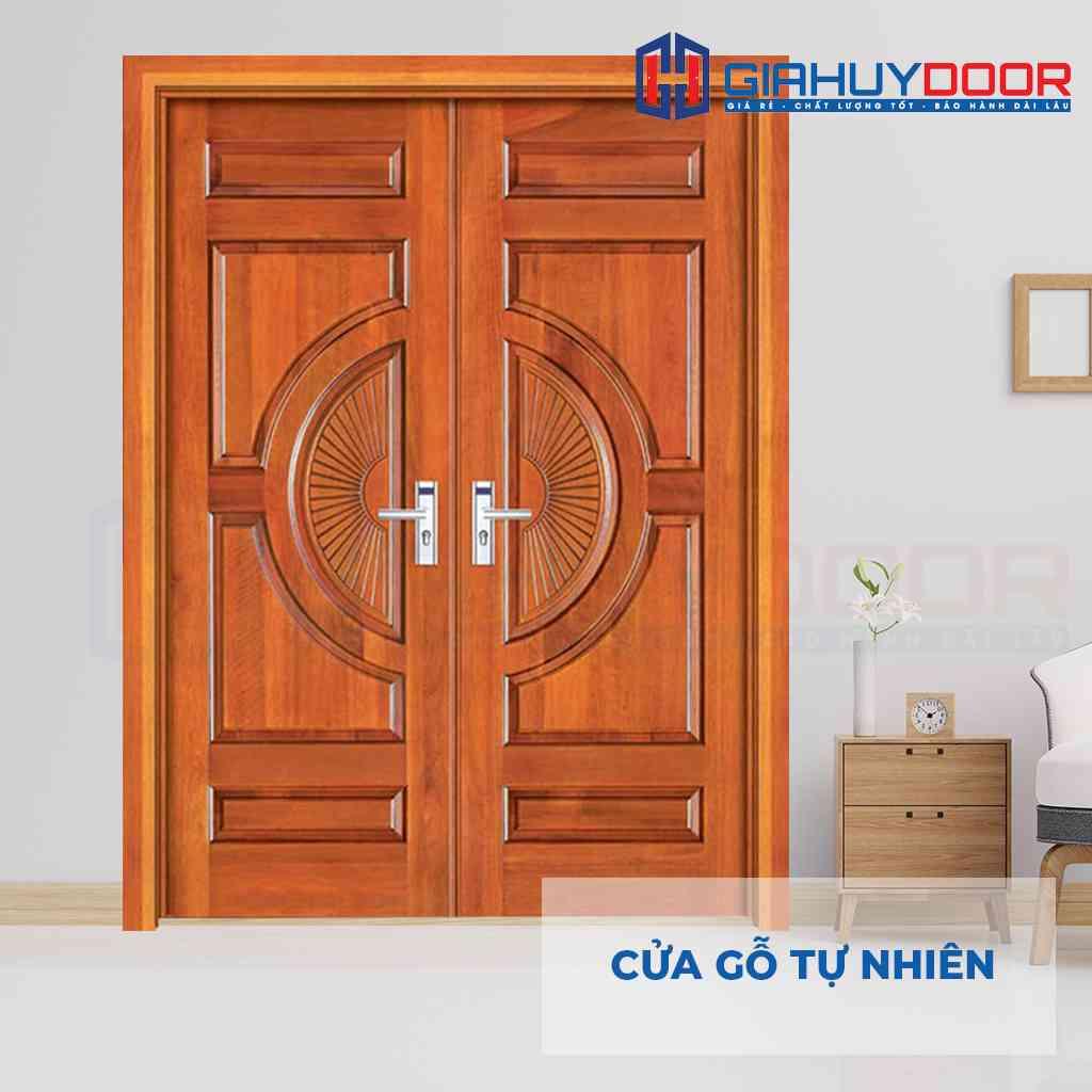Cửa gỗ tự nhiên kết hợp khoá hiện đại dùng làm cửa nhà chính