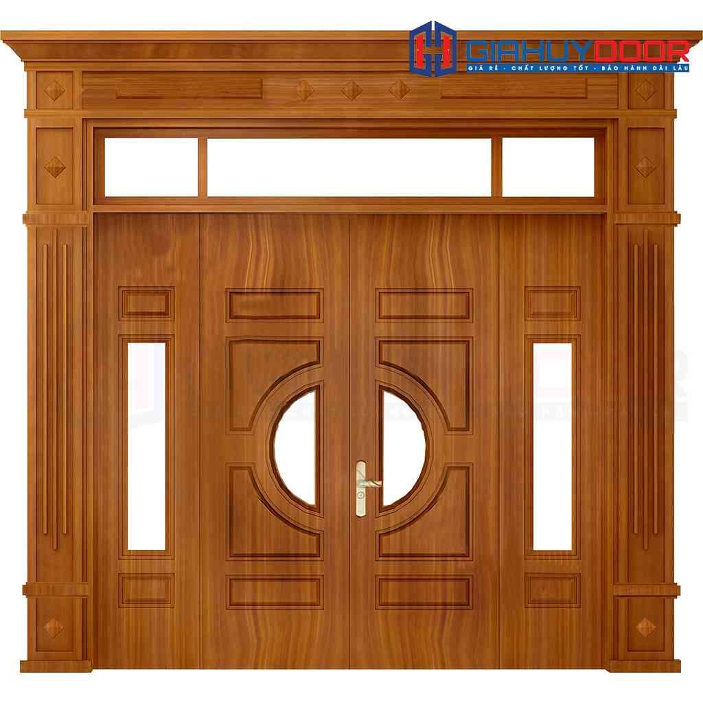 Cửa thép vân gỗ 4 cánh lệch dùng cho cửa nhà chính biệt thự