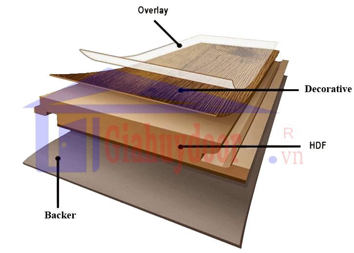 Mặt cắt lớp cấu tạo cửa gỗ công nghiệp HDF Veneer