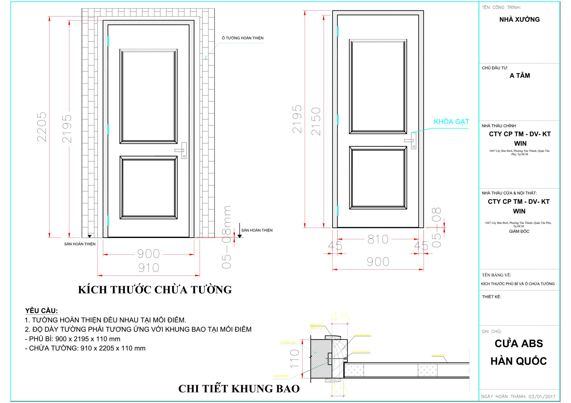 hướng dẫn lắp đặt cửa – chừa ô tường 0886.500.500