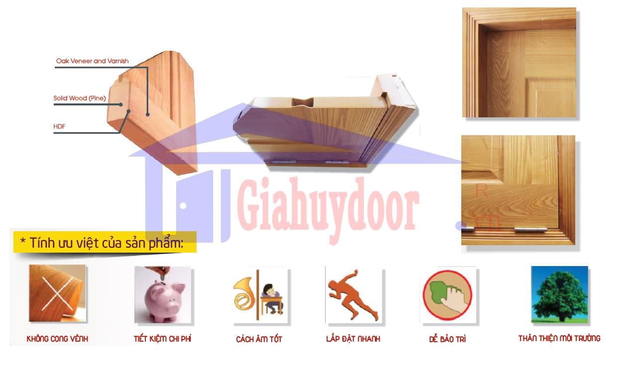 Mẫu góc cấu tạo cửa gỗ công nghiệp HDF