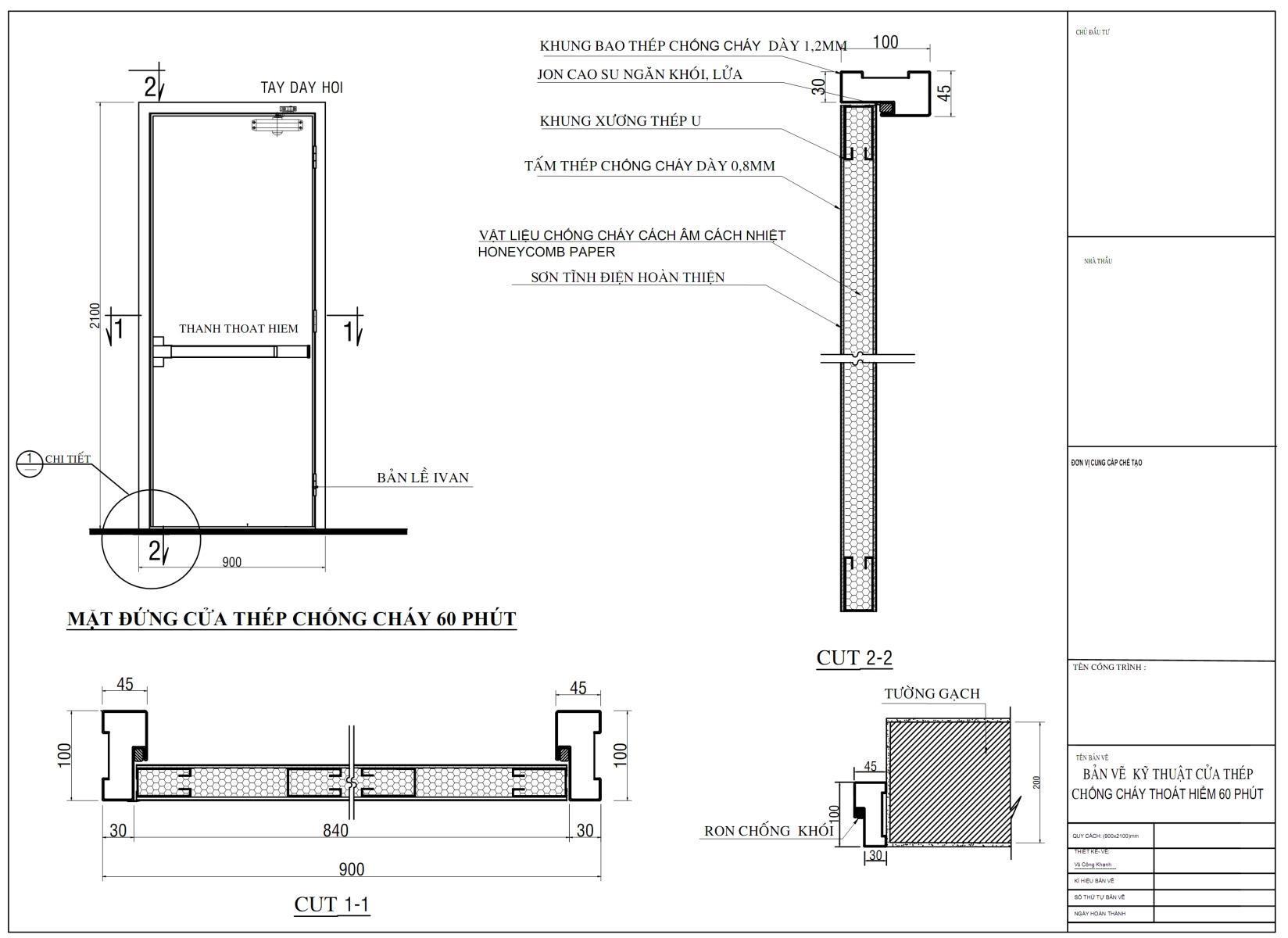 Bản vẽ thiết kế cửa thép chống cháy 60 phút, 90 phút, 120 phút